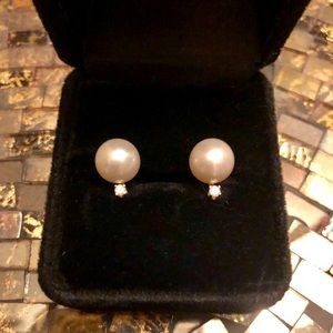 Jewelry - Genuine Pearl with Diamond Earrings